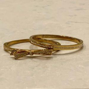 NWOT Pair of Kate Spade Tied Up Gold Hinge Bangles